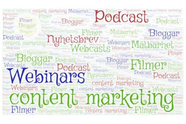 Varumärkesförflyttning, content marketing, Podcasts, Bloggar, Filmer, Nyhetsbrev, Webinars, Webcasts