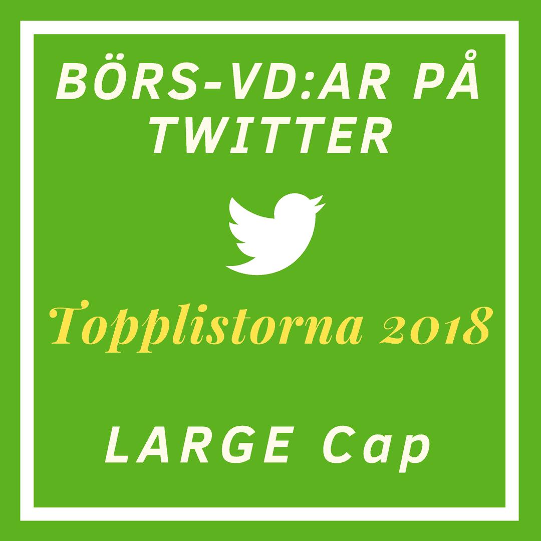 Börs-vd:ar på Twitter, topplistorna 2018: Large Cap