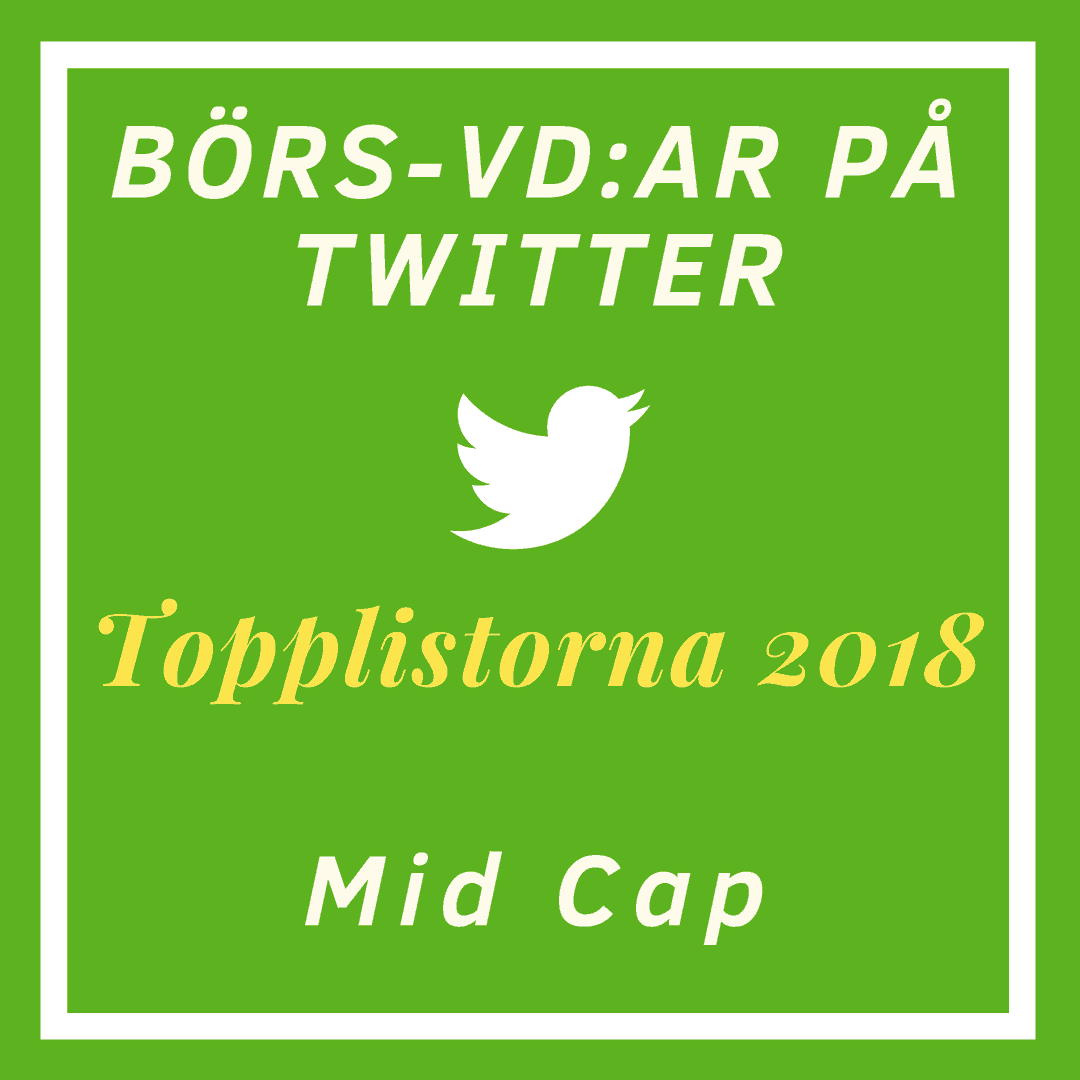 Börs-vd:ar på Twitter, topplistorna 2018: Mid Cap