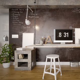 peinture en ardoise dans un bureau