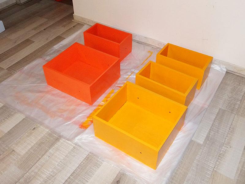 peinture de tiroirs en couleurs