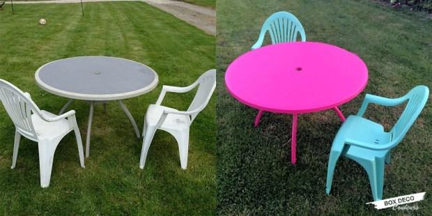 peindre un salon de jardin en plastique avant après