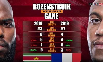 Gane - Rozenstruik - Comparatif des statistiques des combattants en vidéo