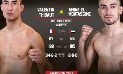 Valentin Thibaut et Akram Hamidi en K-1 à Abu Dhabi pour le Royal Battle