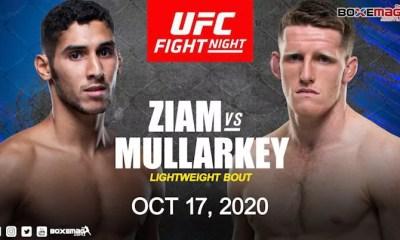 Fares Ziam vs Jamie Mullarkey le 17 octobre à l'UFC on ESPN+ 39