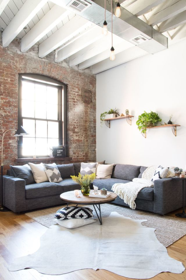 industrial living room grey
