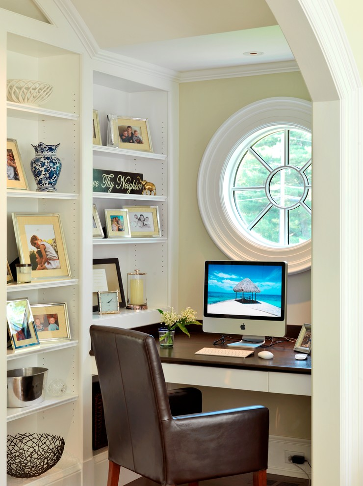 small home office under stairs