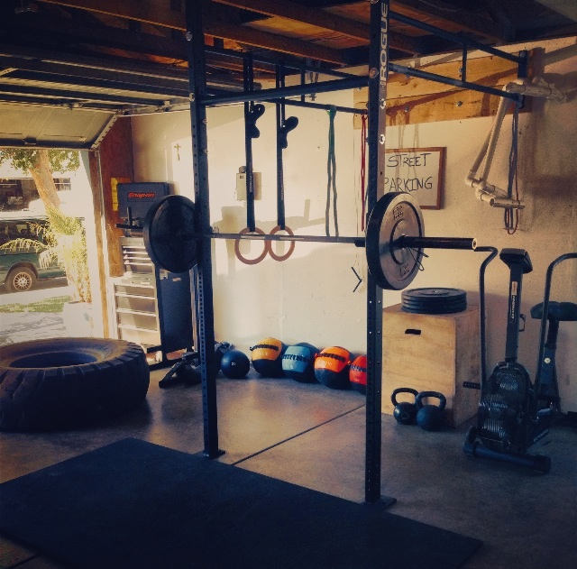 Crossfit garage gym with truck tyre