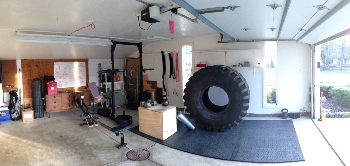 Crossfit garage gym with massive tyre