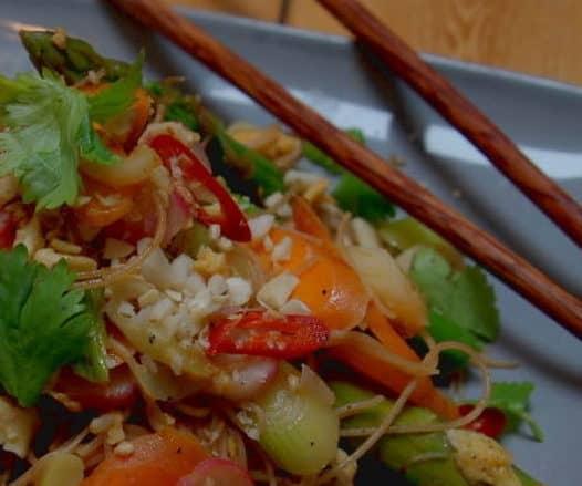 Asparagus and radish Pad Thai