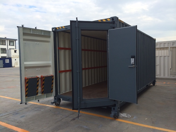 modified container with ramps