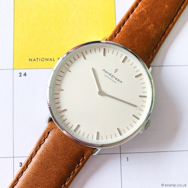 Nordgreen Native Scandinavian Silver Unisex Analogue Watch with brown leather strap