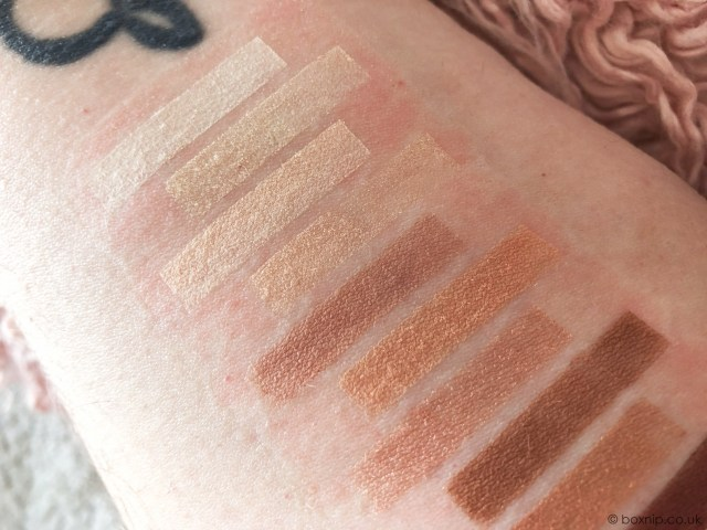 Swatches of NYX Professional Make Up Ultimate Shadow Palette in Warm Neutrals