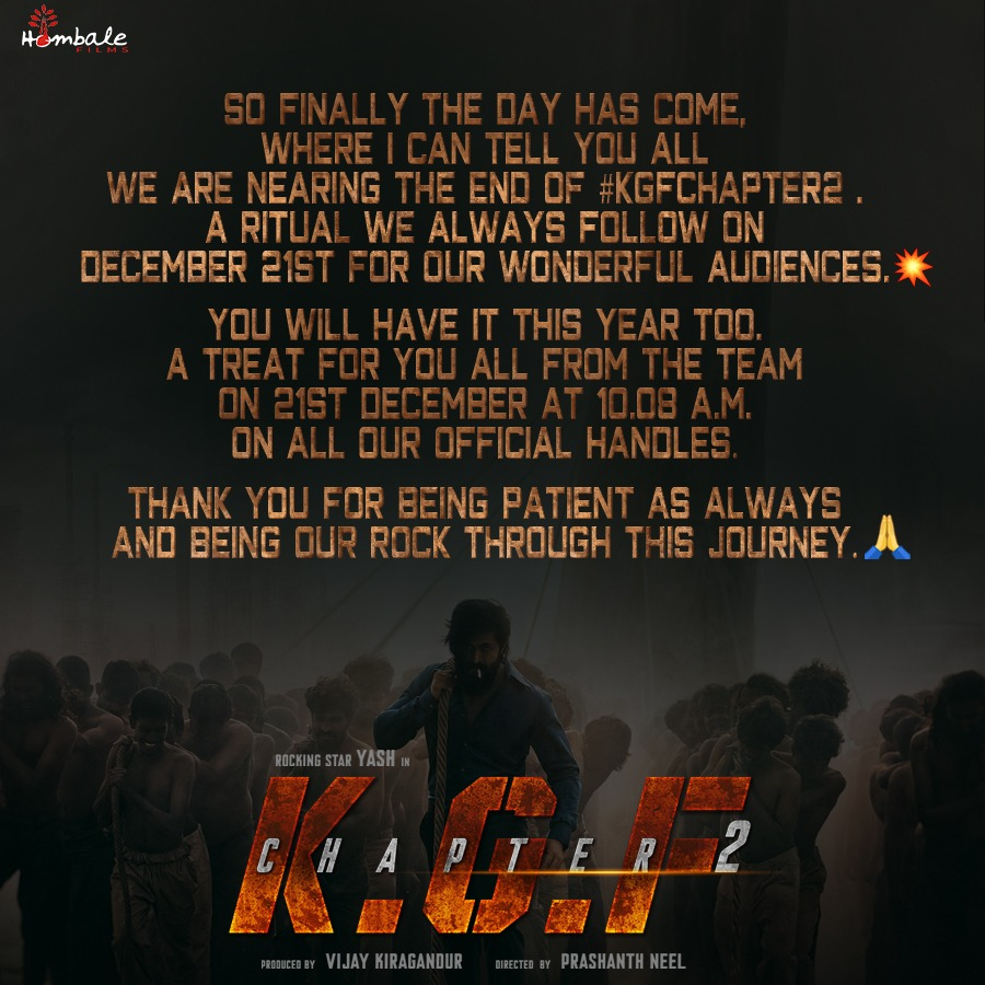 The Makers Of Yash Starrer KGF Chapter 2 To Bring A Surprise For Fans On 21st December, Stay Tuned