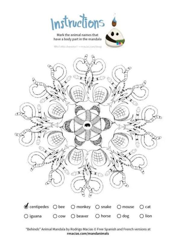 Free coloring activity: Animal Mandalas (EN/ES/FR vocabulary of ...