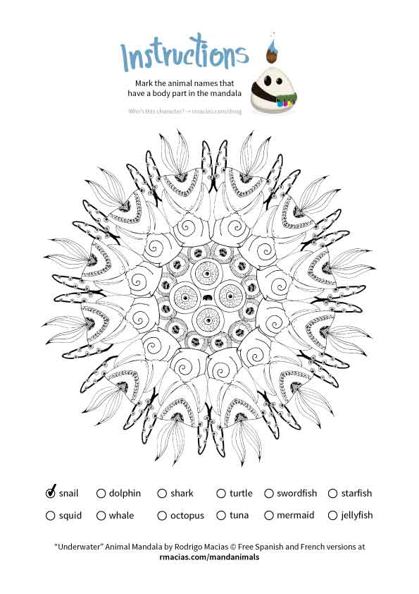 animal mandala that can be used as a coloring language activity so children can practice vocabulary of animal names in English, French and Spanish, by matching those names with the animal body parts that form each design. By kids activities designer Rodrigo Macias