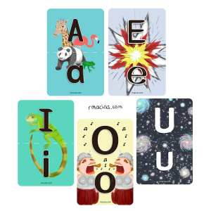 Multilingual Vowels Flashcards: Upper-Lower Case Match | Box of Ideas