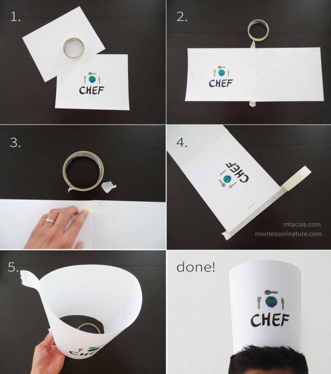 How to make a Paper Kid Chef's Hat for montessori culinary activity: International Kid Chef by Kids Activities Designer Rodrigo Macias