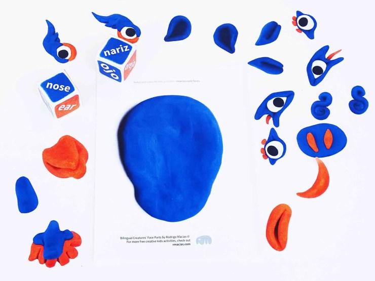 "Free printable for languages game (English and Spanish) : ""Bilingual Creatures' Face Parts"" by kids activities designer Rodrigo Macias"