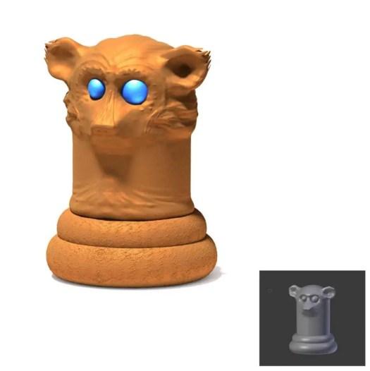 Bronze animal pawn chesspiece with a monkey design by Rodrigo Macias for a free printable chess for kids