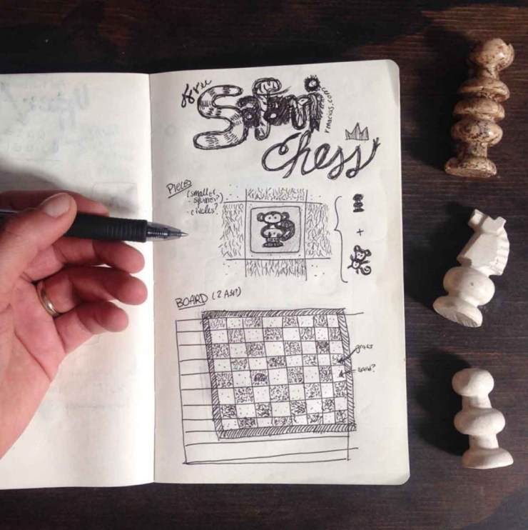 Concept idea sketching by Rodrigo Macias for a free printable chess for kids