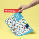 Multilingual Alphabet Poster for bilingual kids with illustrations of things that start with the same letter in five languages: English, Spanish, French, Italian and Portuguese. By kids activities designer Rodrigo Macias