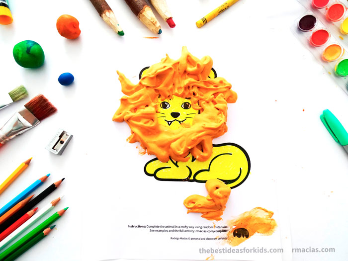 Art Supplies And Lion From Complete The Animals Game