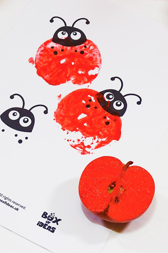 Red Stamped Ladybugs for Bugs and Nature Simple Stamping Art activity for Preschool Kids using Apples. #preschool #crafts #apples #stamped