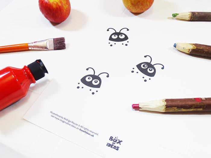 Printable Baby Ladybugs Coloring Page for Bugs and Nature Simple Stamping Art activity for Preschool Kids using Apples. #preschool #crafts #apples