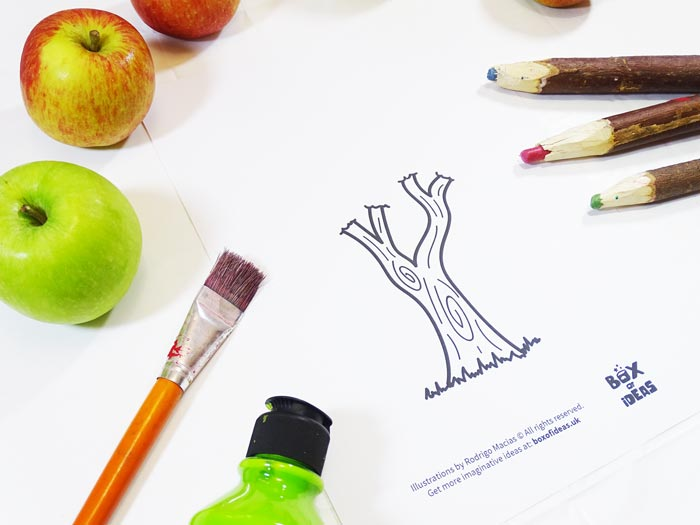 Printable Tree Coloring Page for Bugs and Nature Simple Stamping Art activity for Preschool Kids using Apples. #preschool #crafts #apples