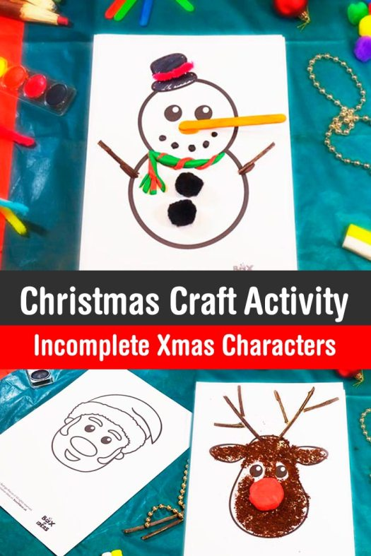 Complete The Xmas Characters Santa Reindeer And Snowman Christmas