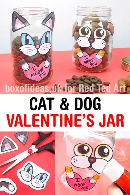 Crafty Dog and Cat Valentine's Treat Jar #valentines #dog #cat #treats #jar