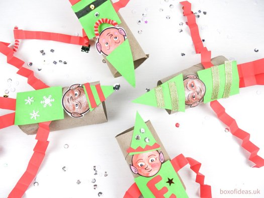 #Cardboard toilet tube elfs friends picture of #DIY #christmas #elf-on-the-shelf craft for preschool kids