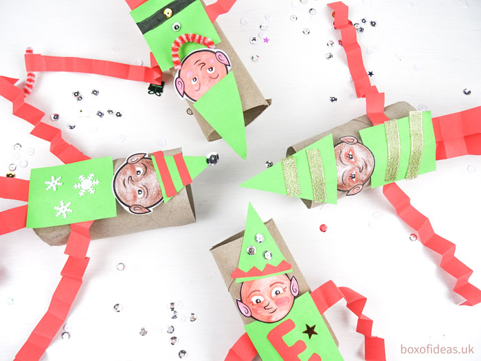 #Cardboard toilet tube elfs friends picture of #DIY #christmas #elf-on-the-shelf craft for preschool kids