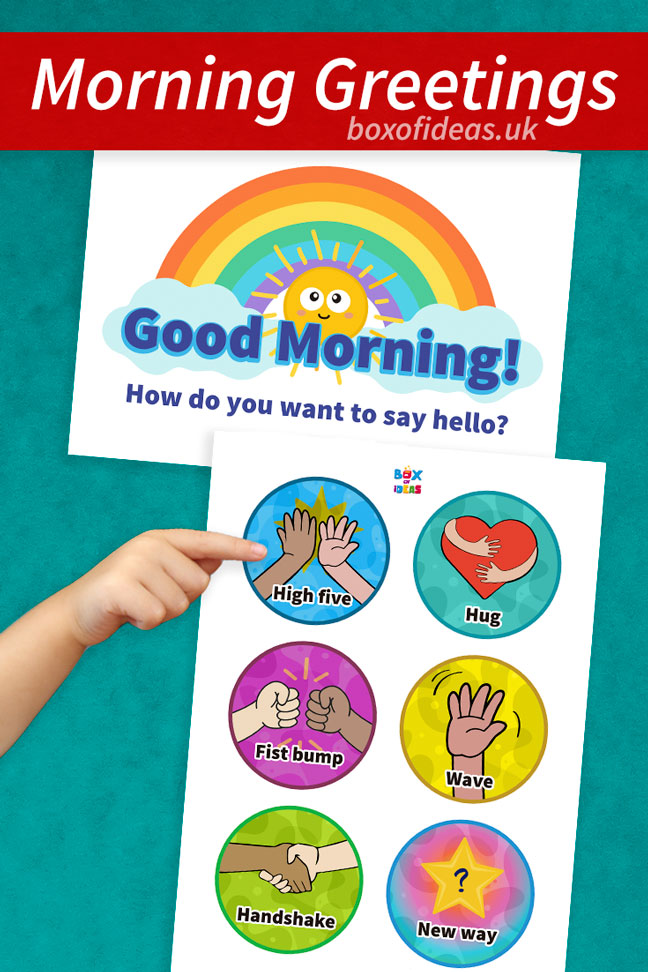 graphic regarding Free Printable Picture Schedule for Preschool identified as Free of charge Early morning Greetings Chart for Preschool Box of Suggestions