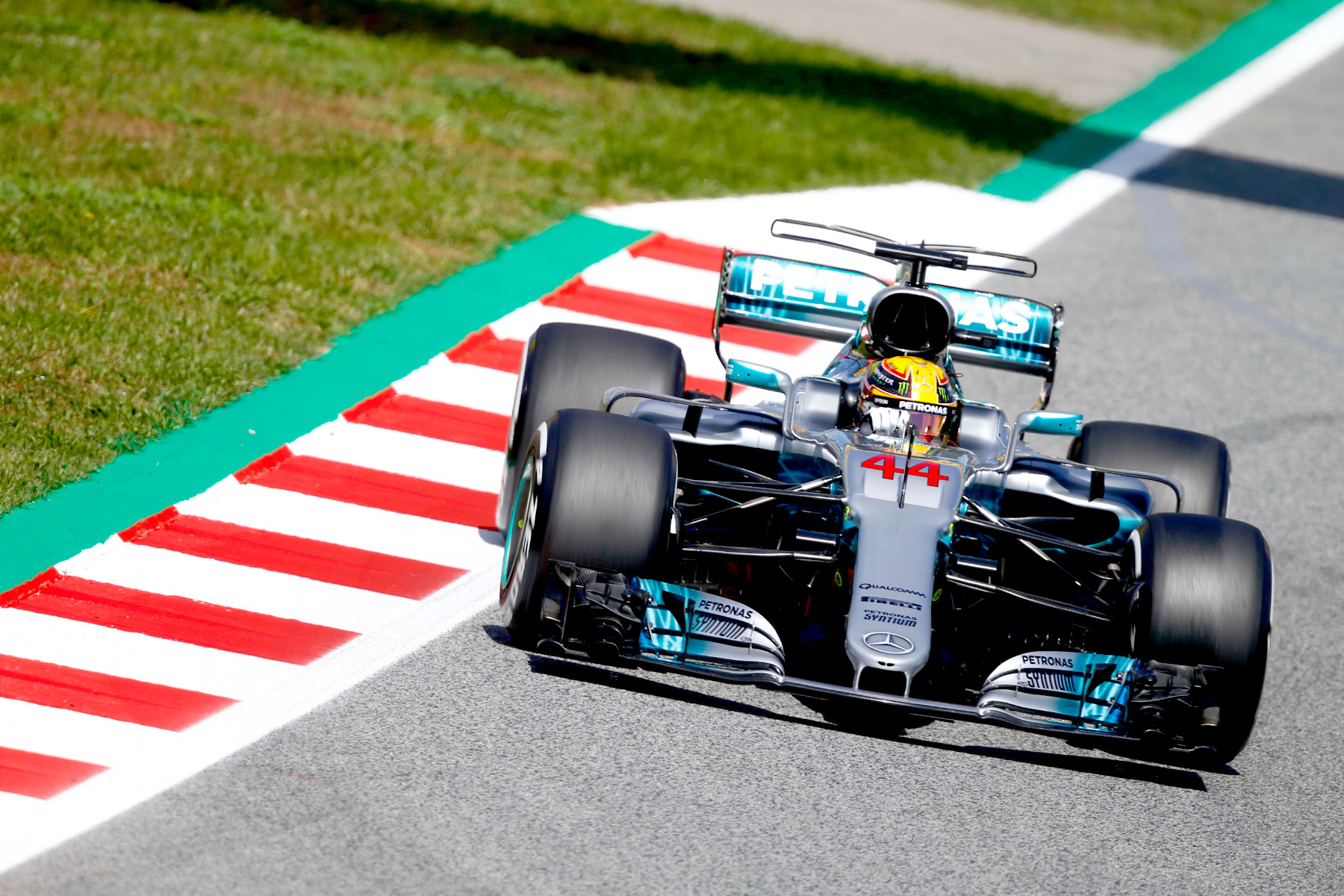 Lewis Hamilton drives his Mercedes to pole position at Spain's Circuit de Barcelona-Catalunya