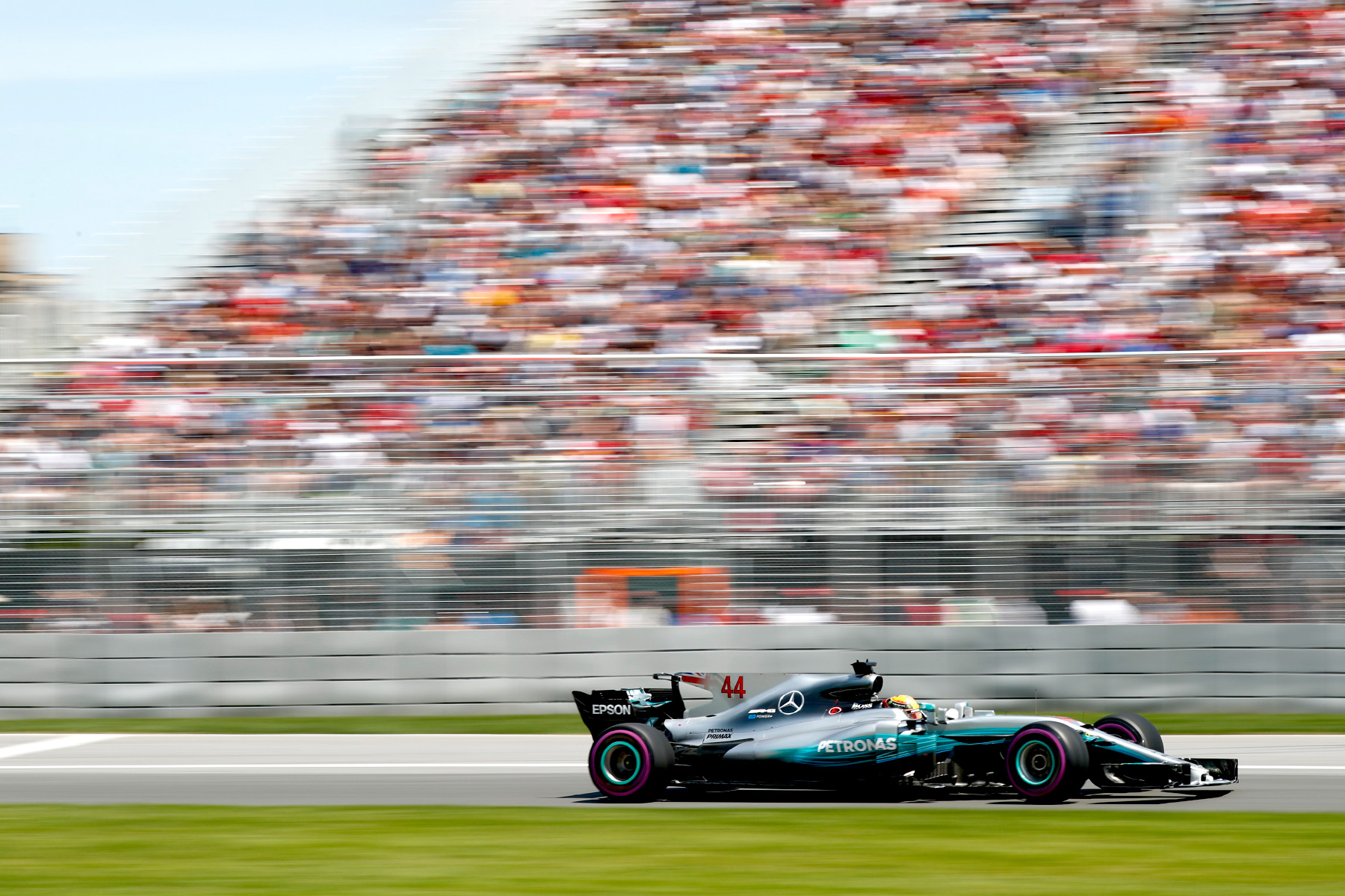 Lewis Hamilton in his Mercedes at the 2017 Canadian Grand Prix