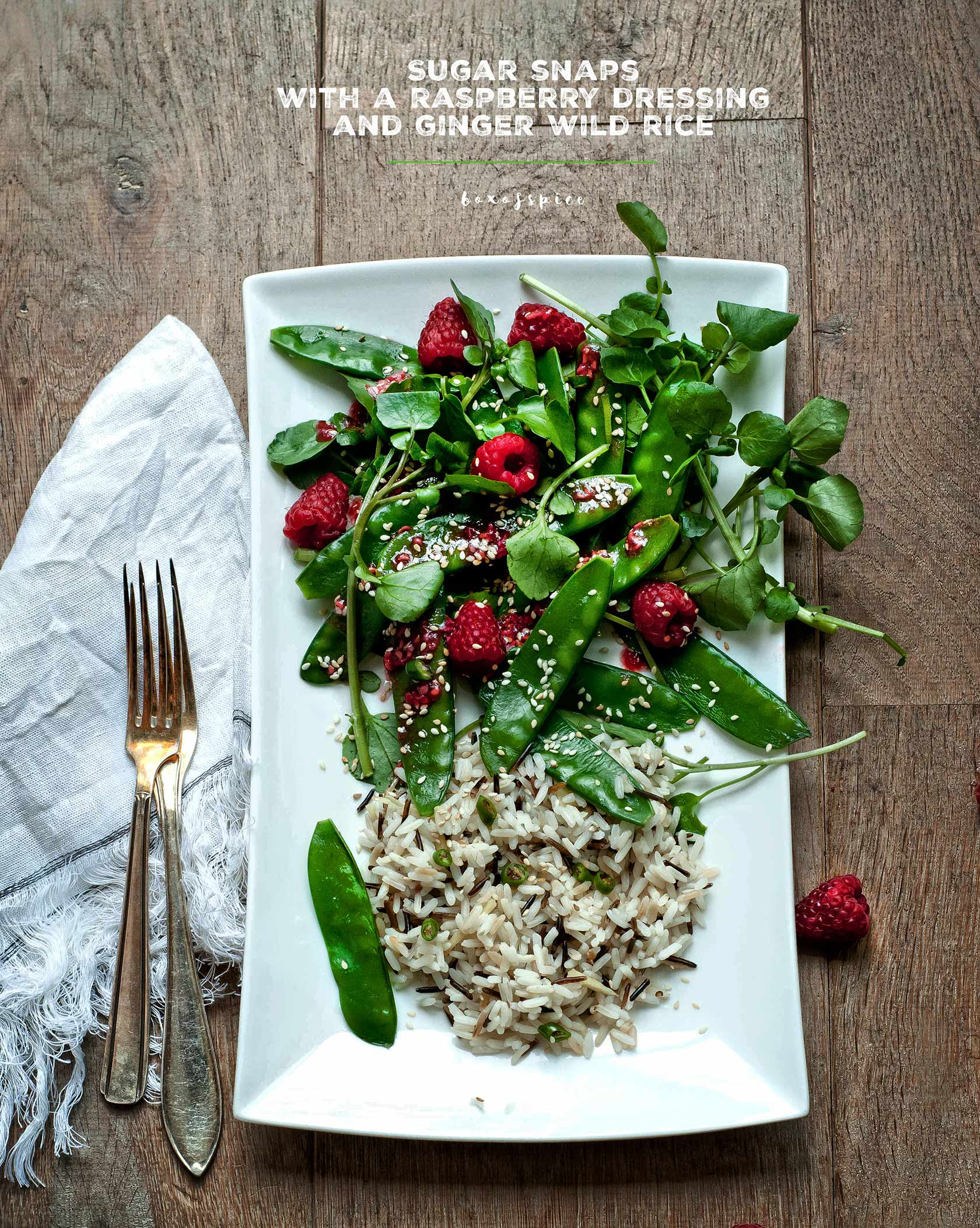Wildcress and Sugar Snaps with A Raspberry Dressing and Ginger Wild Rice I Boxofspice