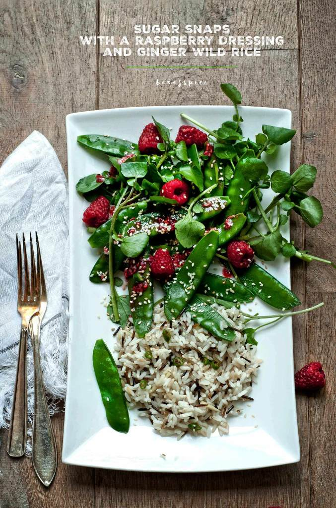 Watercress + Sugar Snaps with Raspberry Sesame Dressing + Ginger Wild Rice