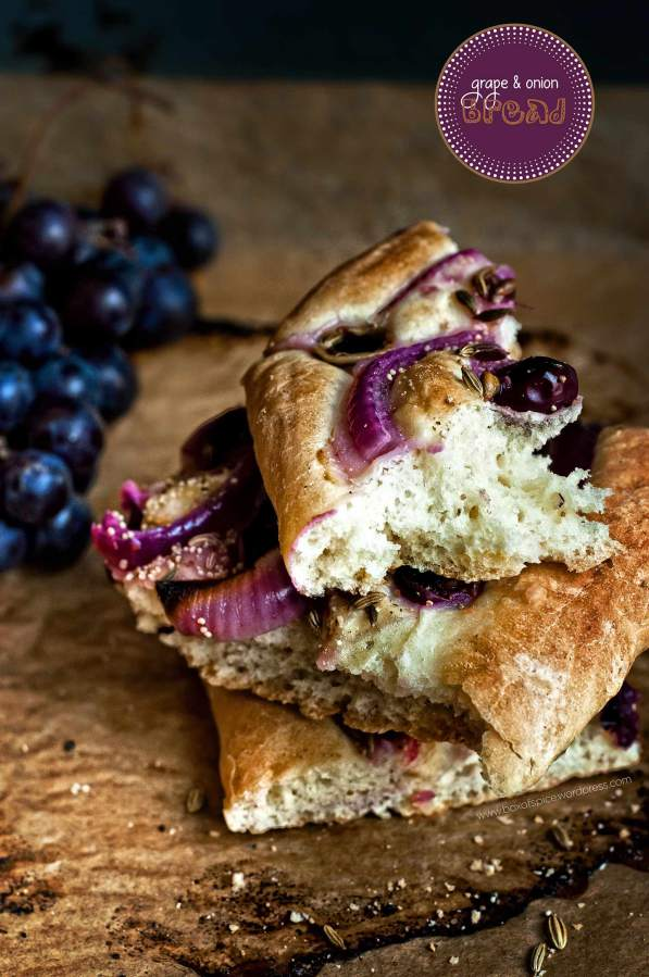Grape Onion Bread with Fennel and Poppy seeds