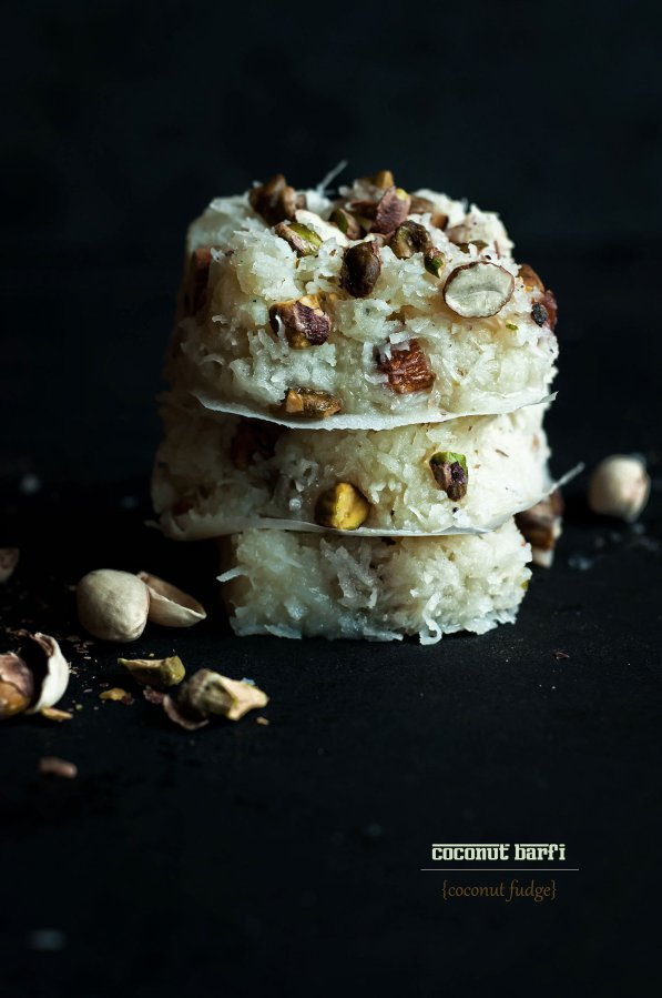 Coconut Fudge {Nariyal Barfi}