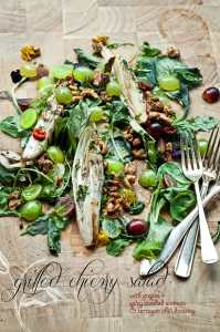Time for Reflection + A Grilled Chicory Salad with Grapes + Spicy Candied Walnuts and Tarragon Chili Dressing
