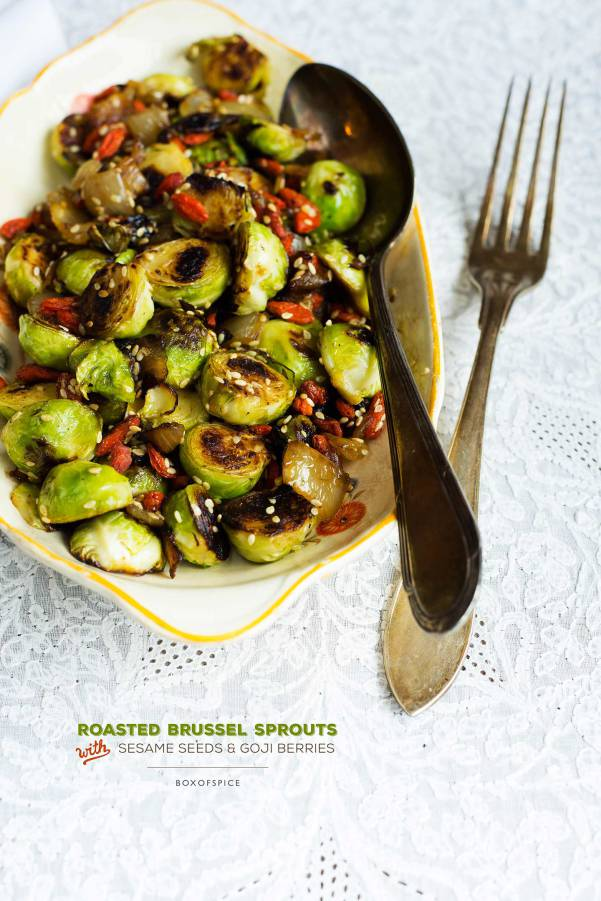 Roasted Brussels Sprouts with Sesame Seeds and Goji Berries