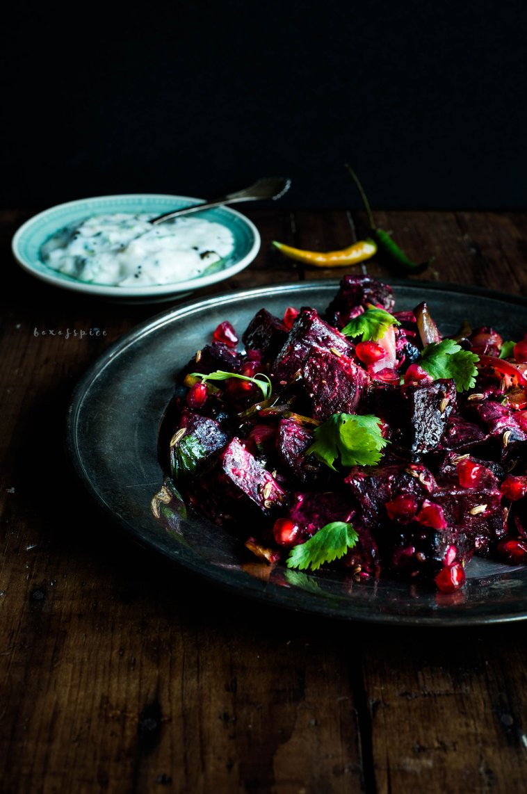 Indian Roasted Beetroot with A Yoghurt Sauce I Boxofspice