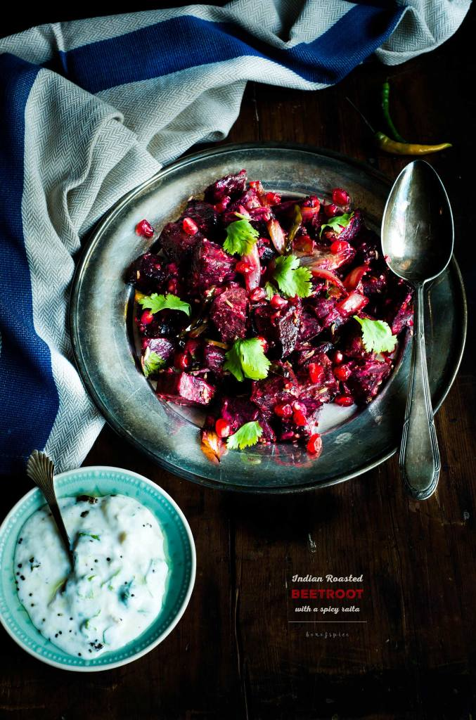 Indian Roasted Beetroot With A Spicy Raita/Yoghurt Sauce