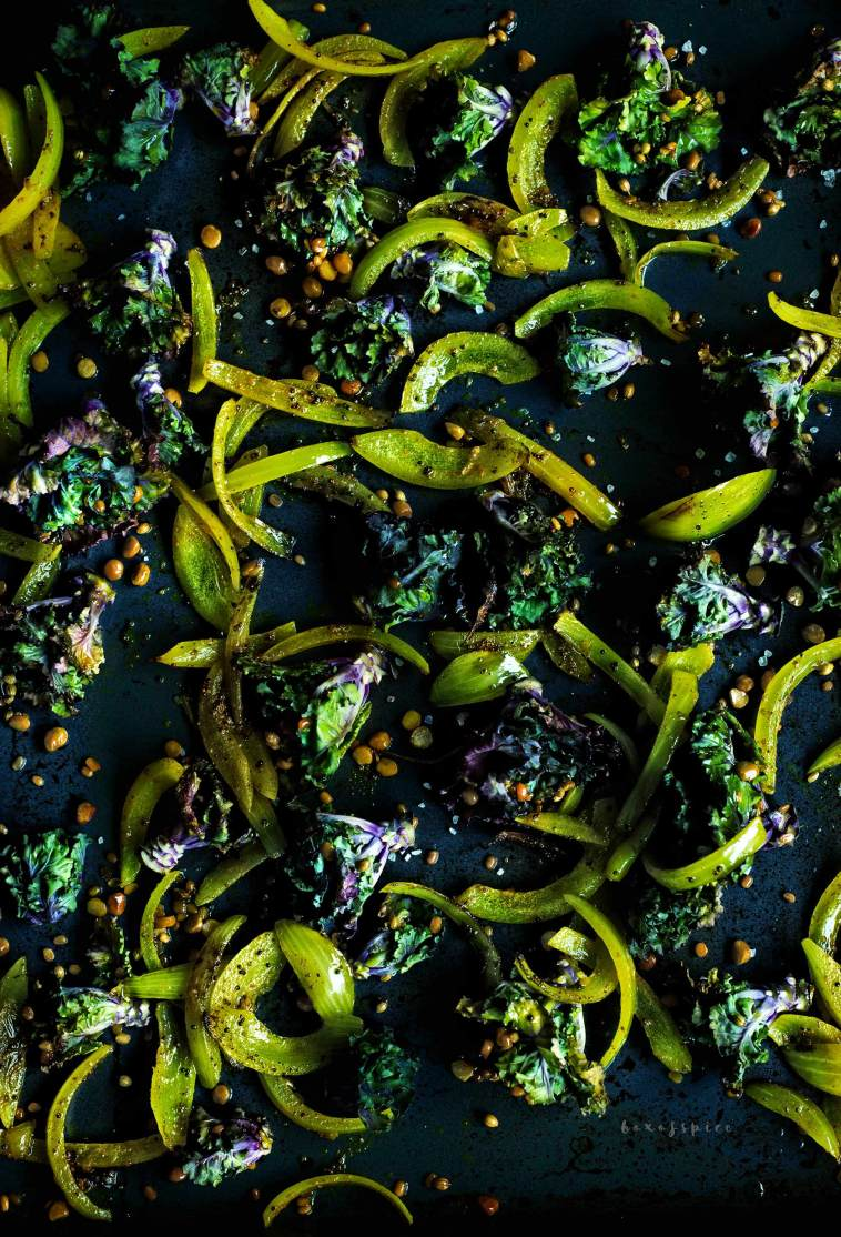South Indian Style Roasted Kale Sprouts with Turmeric Onions I Boxofspice