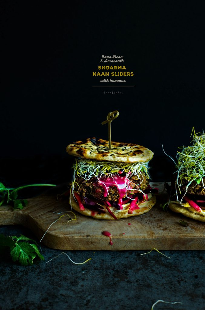 Fava Bean and Amaranth Shoarma Naan Sliders with Hummus