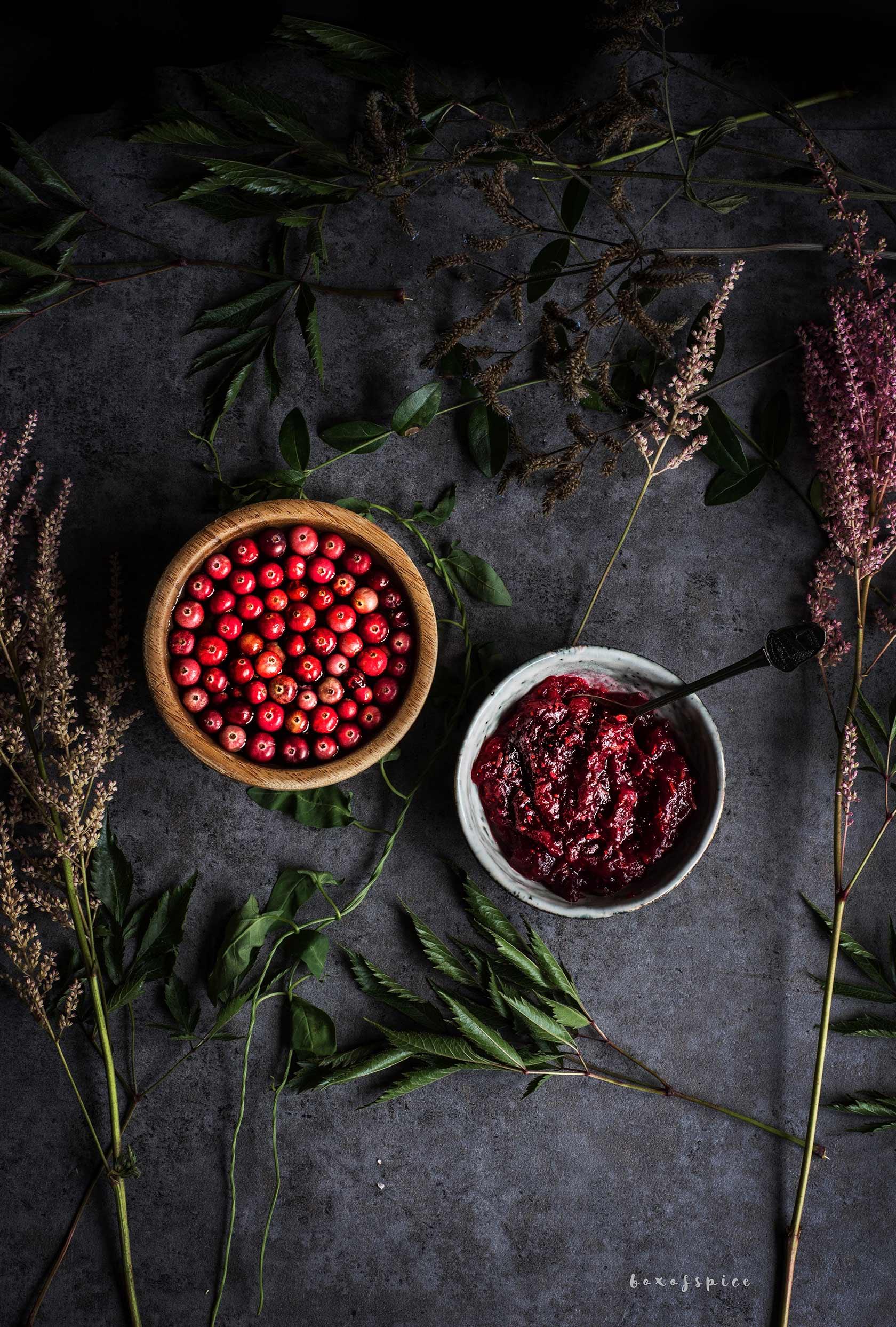 Burnt Garlic Sugar Snaps with Cranberry Chutney I Boxofspice