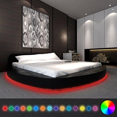 Anself Polsterbett Doppelbett Bett Ehebett Rundbett mit LED-Leiste 180x200cm ohne Matratze Schwarz