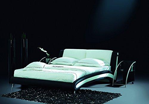 Designerbett Bett Polsterbett Kunstlederbett 180 x 200 cm Schwarz Weiß modernes Design ohne Lattenrost